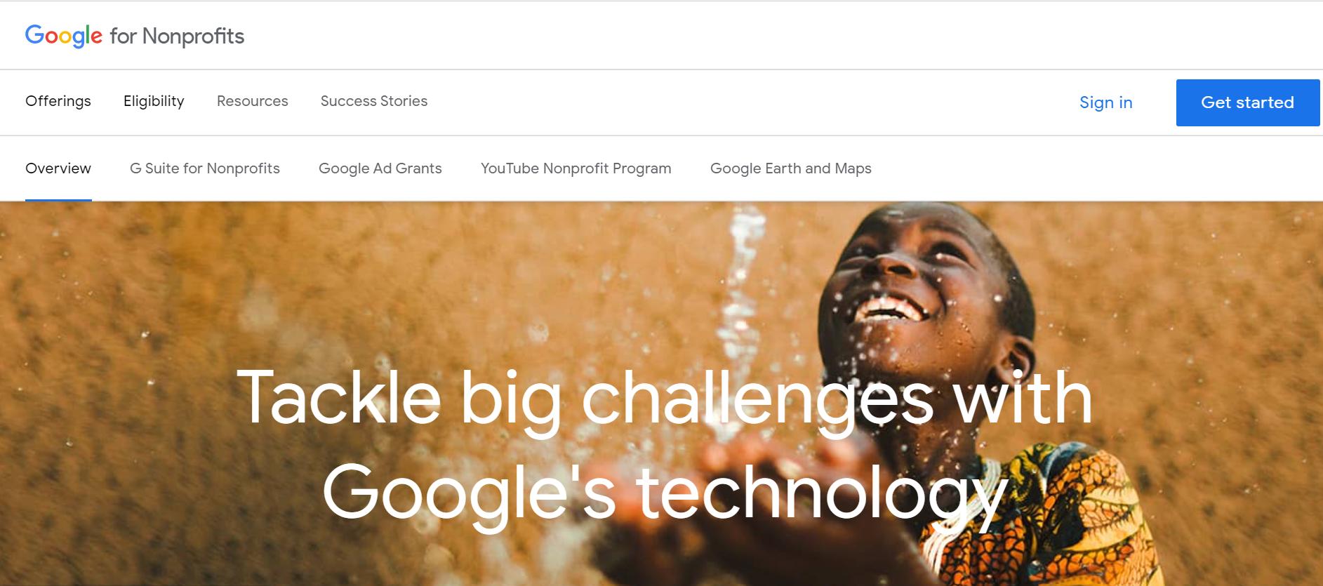 google-ad-grants-for-nonprofits-homepage