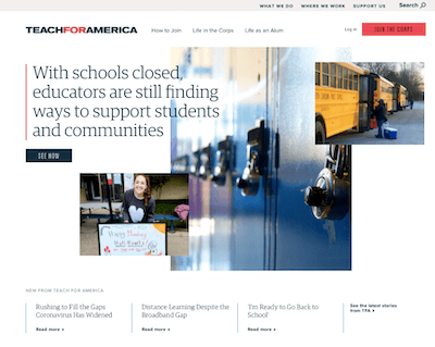 nonprofit-website-structure-Teach-for-America